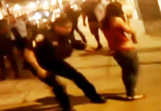 Cop SLAMS Female to the Ground