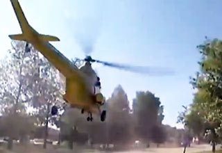 Helicopter Cannot Take Off and Crashes Badly