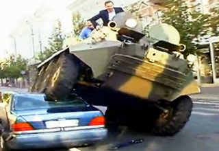 Crazy Mayor Runs Over Illegally Park Cars with a WAR TANK