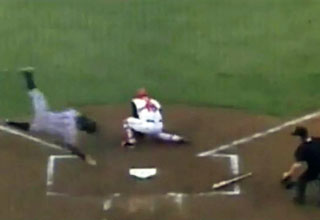 Minor League Player Slides Face First to Homeplate