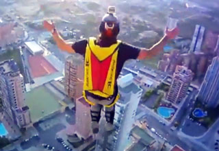 Base Jumping from a Elevator Roof of a Hotel