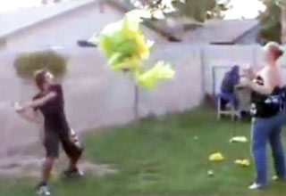Pinata Swing Knocks Woman Out