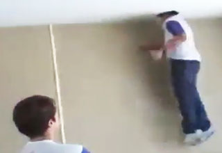 Weird Kid Jumps Through Ceiling With His Head