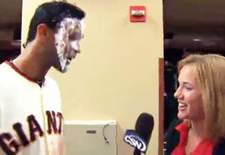 Pablo Sandoval Hits Female Reporter With Shaving Cream view on ebaumsworld.com tube online.