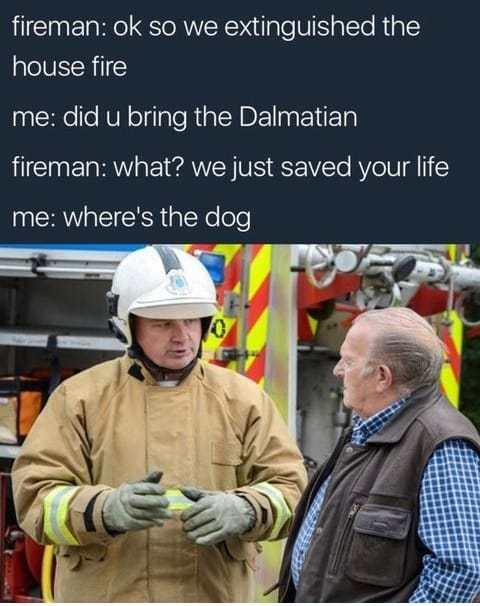 32 - Funny meme of fireman putting out house fire and the man just wants to play with their dalmatian dog.
