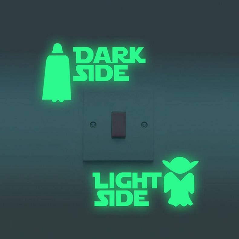 31 - Light switch with Light Side and Dark Side Star Wars decals to remind how to turn on the light.