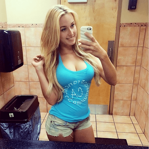 Beautiful blonde wife bathroom selfies