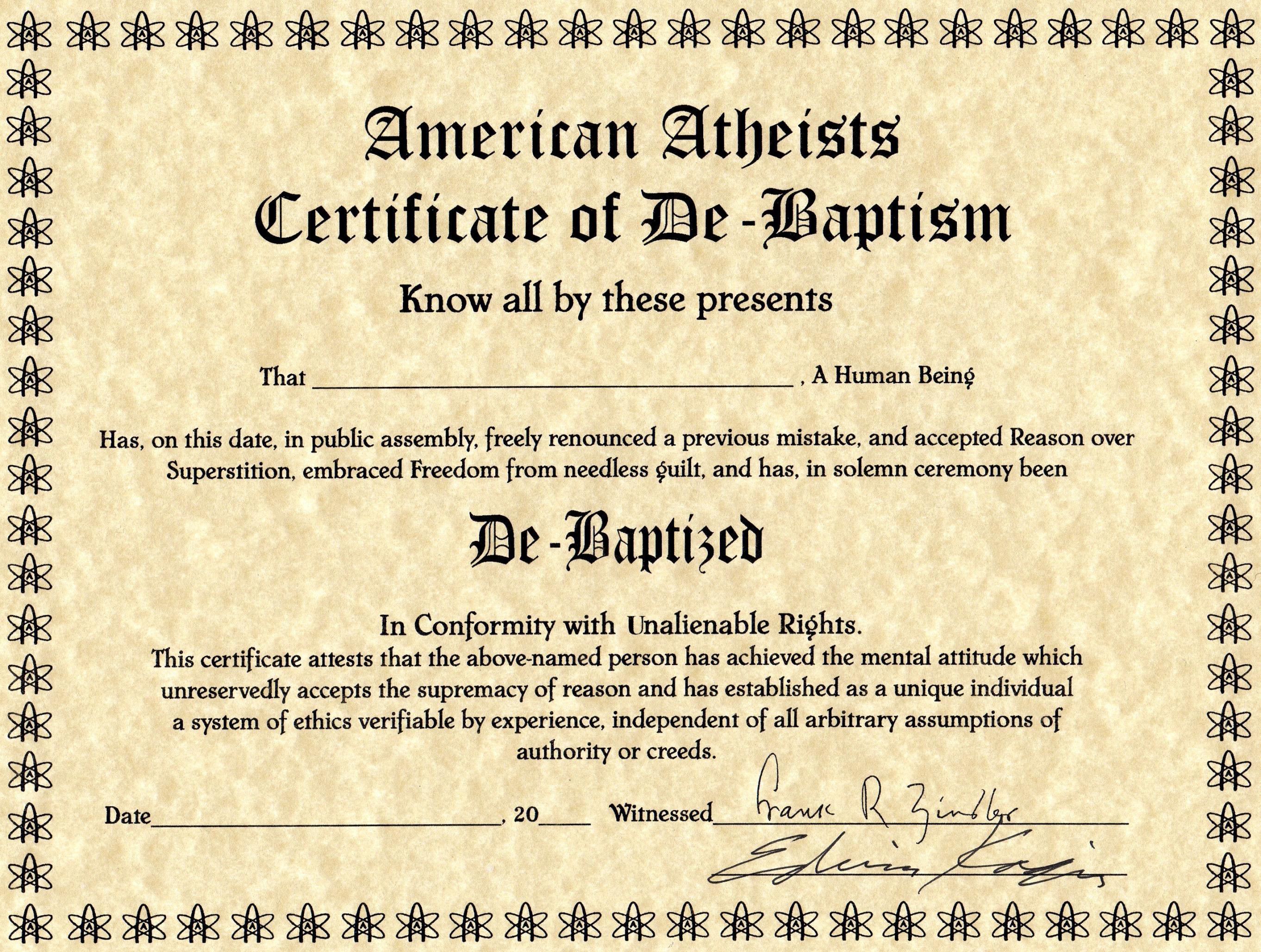 american atheists certificate of de baptism picture ebaum s world