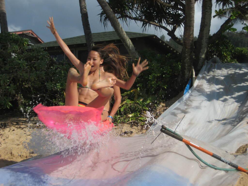 Bikini girl slip n slide