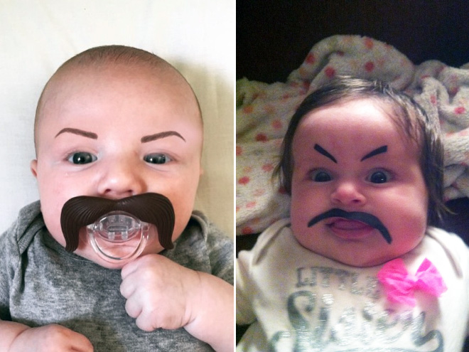 Babies With Eyebrows Drawn On Their Faces Gallery Ebaums World