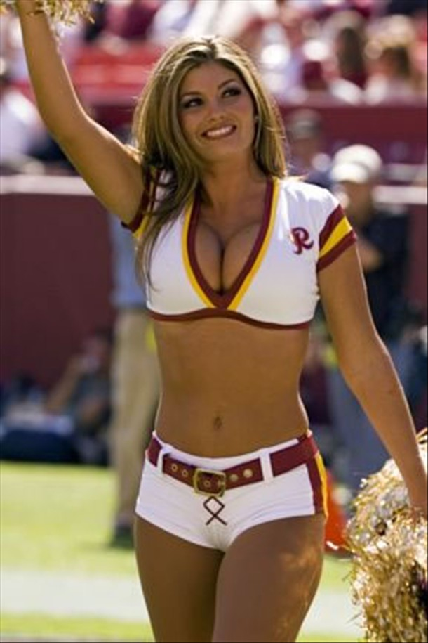 Busty cheerleader showing