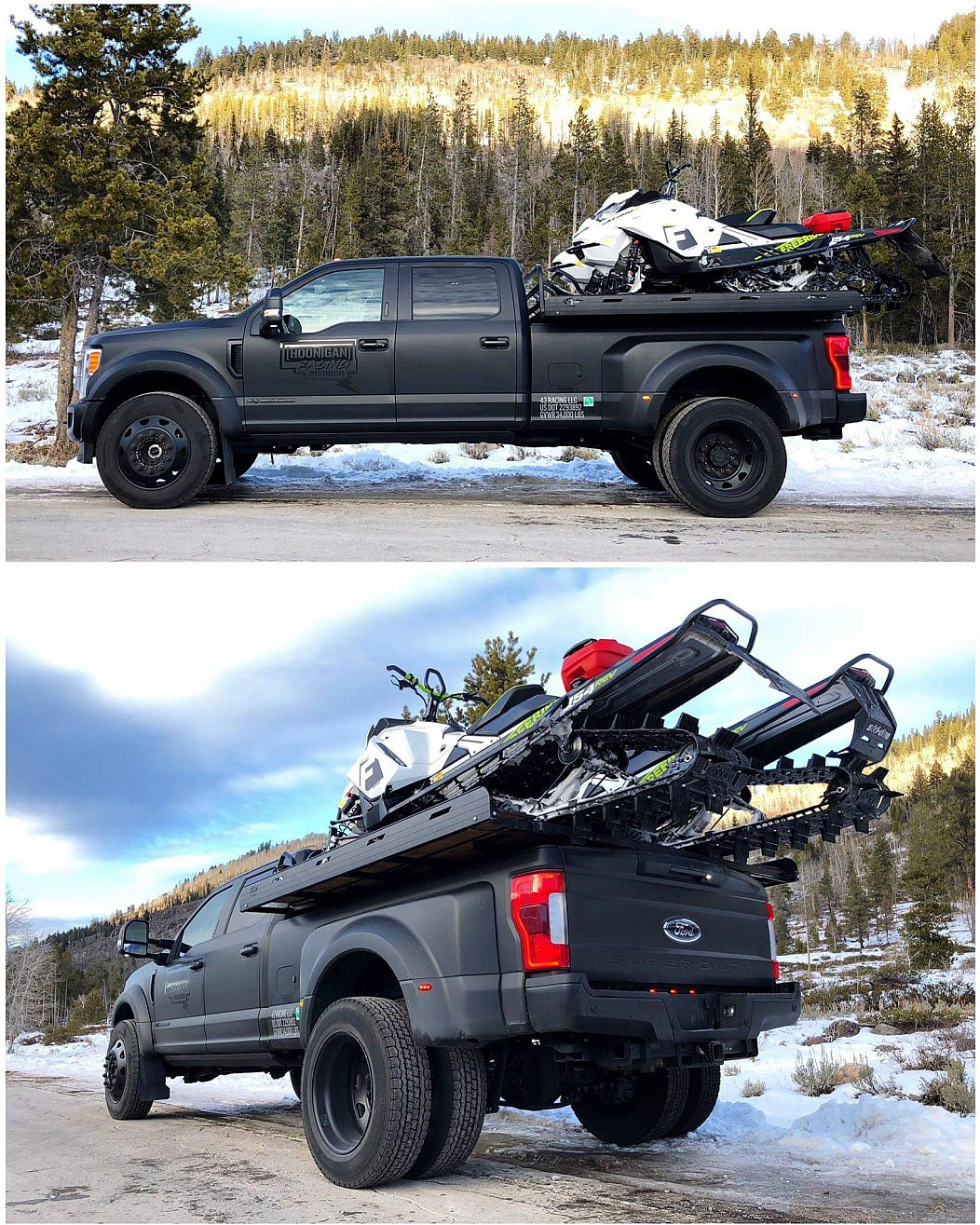 28 - Hoonigan Racing snowmobile atop a Ford F-450