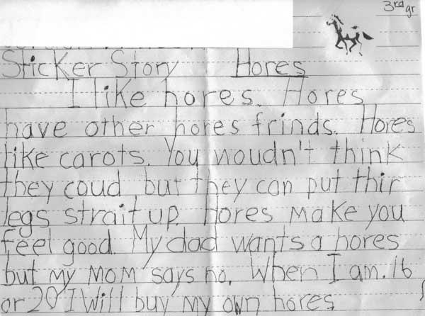 Kids essay horse
