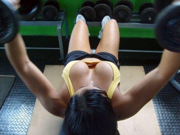 POV Down Shirt Bodybuilder Sports Bra