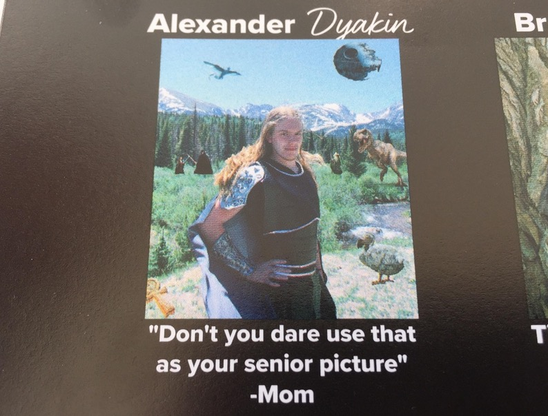 11 - Funny picture in a year book with a quote of his mom asking him not to use that picture.