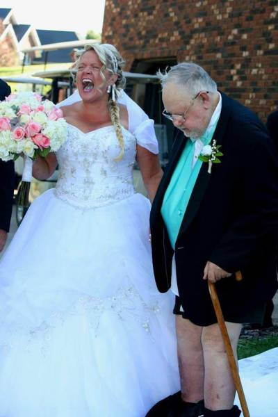 8 - Old couple getting married and the groom is not wearing any pants.