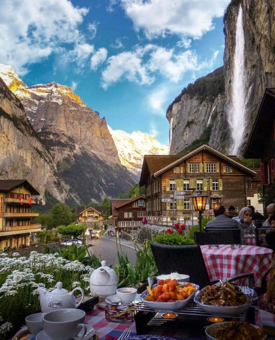 1 - want to have dinner at the base of a waterfall in Switzerland?