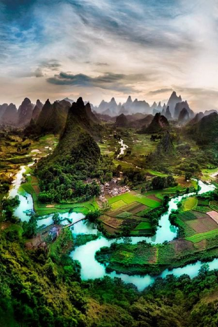 4 - This photo of a village in China looks like something out of a dream.