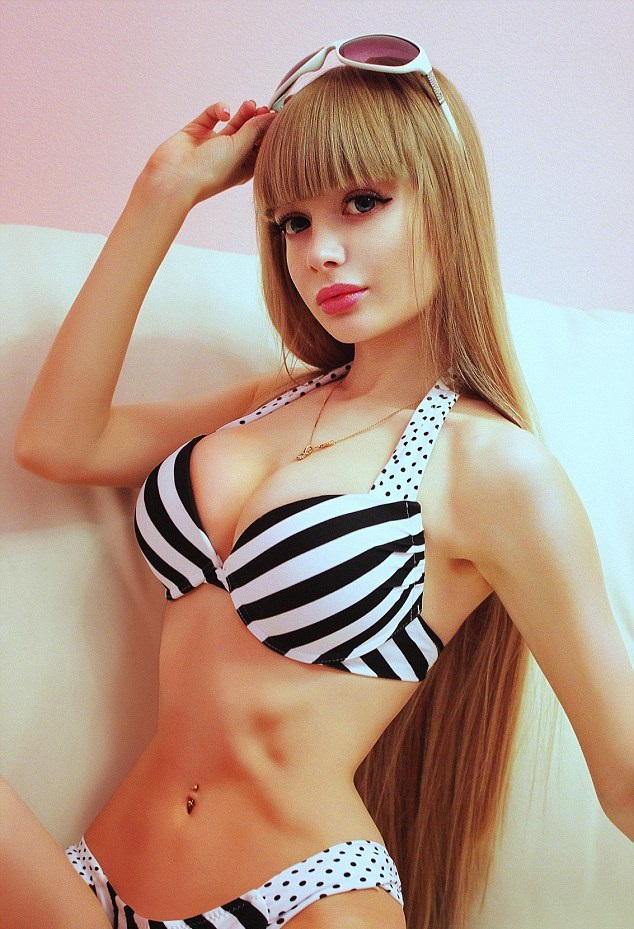 "1 - This is Angelica Kenova, a 26-year-old Russian woman who claims to be a ""Human Barbie,"" complete with a 20-inch waist and a 32E bra size."