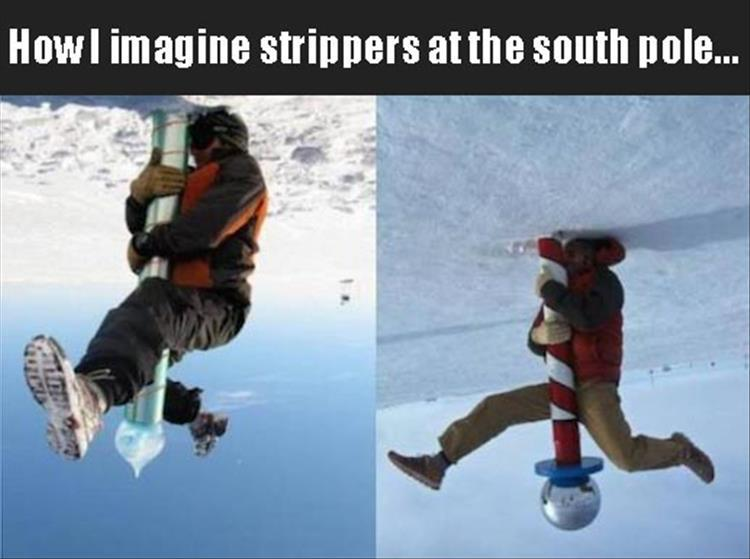 18 - Funny meme imagining how strippers are in the south pole.