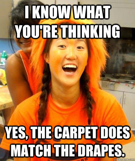 does the carpet match the drapes for gingers