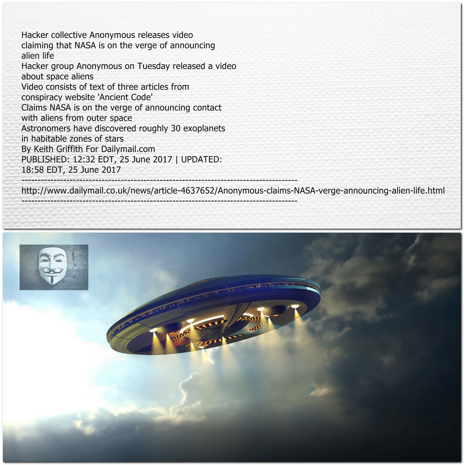 Anonymous claims NASA confirms Alien Life Exists - Picture ...
