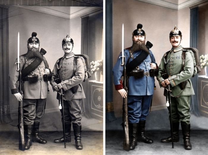 13 bavarian grandfather and prussian grandson displaying the old and new uniforms of the german