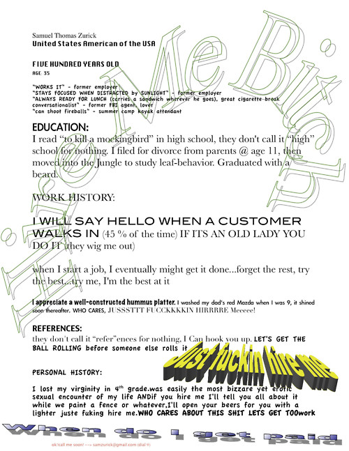 7 insane resumes that show you how to not get a job - Funny Resume