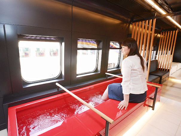 29 - Train in Japan equipped with footbaths to help you relax.