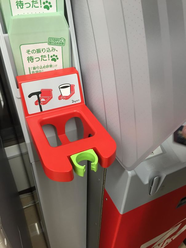 40 - Cane holder at ATM for the aging population.