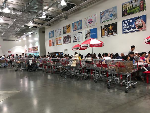 41 - Carts lined up nicely at food court in Costco.