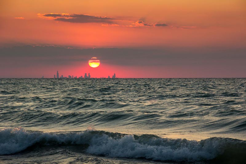 16 - Chicago skyline sunset from Indiana