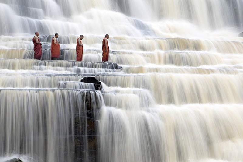 28 - Mediating Monks on Pongour Falls Vietnam