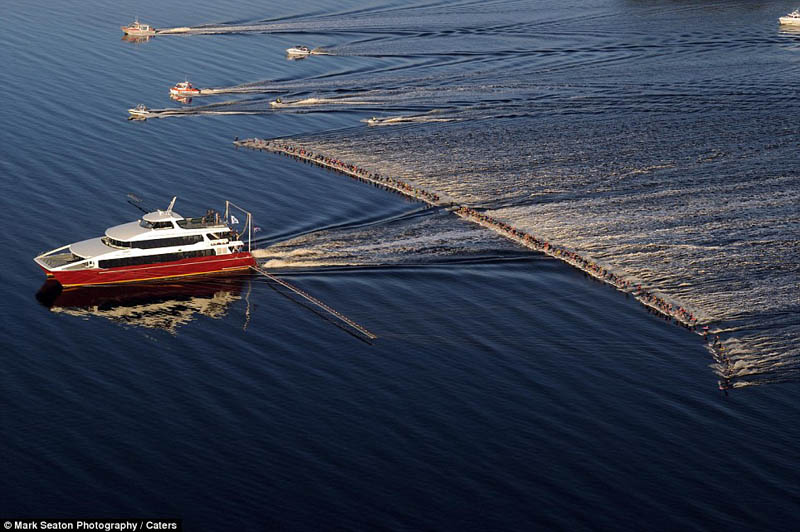 30 - Most waterskiers ever pulled behind a single boat