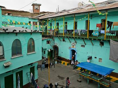 23 - San Pedro Prison, Bolivia: San Pedro isn't the fanciest of the prisons on this list, but it's definitely different than your usual incarceration experience. Inmates at the prison have jobs inside the community, buy or rent their accommodation, and often live with their families. Tourism is popular, and savvy inmates can move up into cushier accommodations. Stabbings are somewhat commonplace, but look at that paint job!