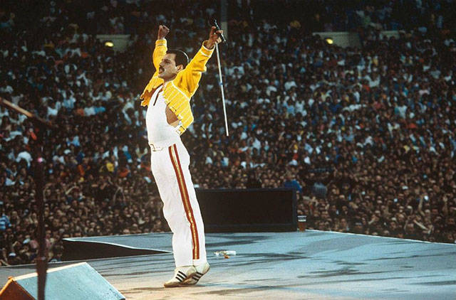 6 - Freddy Mercury on stage after what was probably a stellar performance.