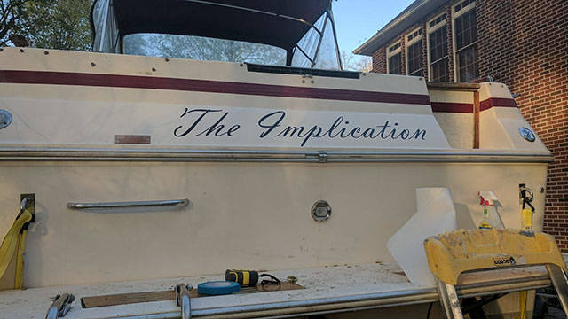 "18 - Boat named as ""The Implication"" in reference to the It's Always Sunny In Philadelphia episode in which the Gang Buy's A Boat."