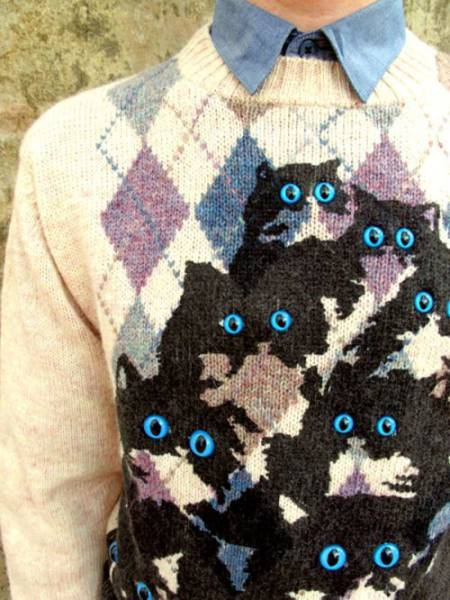29 - Sweater with many cats and eyes that tick out.
