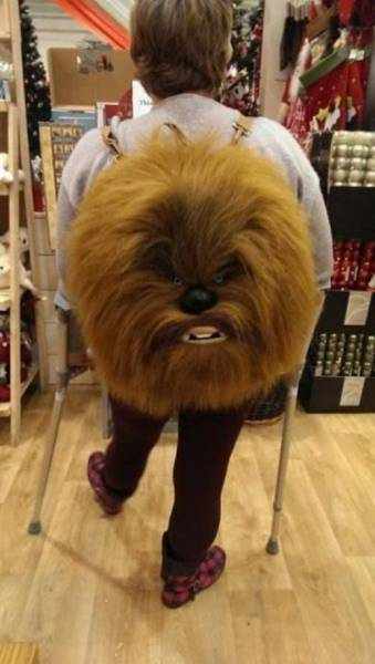 32 - Backpack that looks like a Wookie's head.