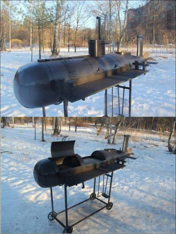 42 - Submarine shaped barbecue setup.
