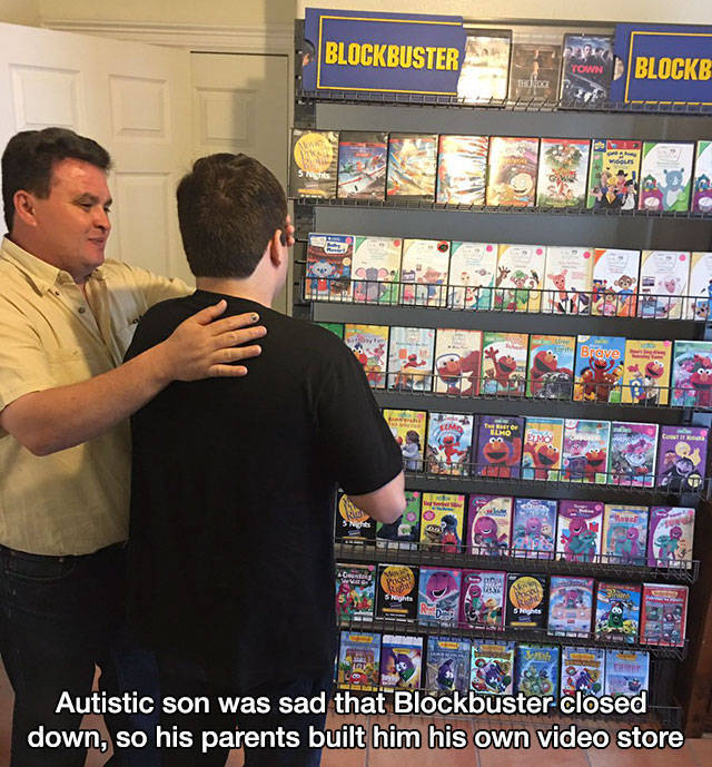 22 - Parents make Blockbuster store for their autistic son.