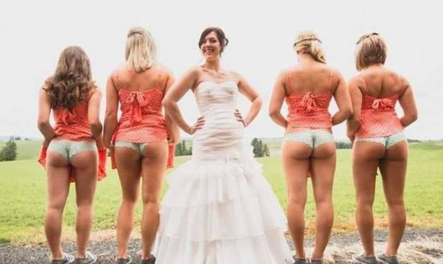 45 - Bride and her mooning bridesmaids.