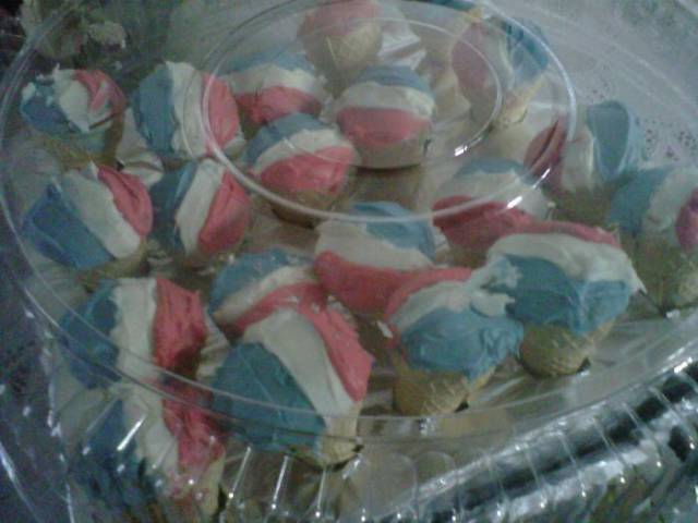 16 - Red white and blue all-american cupcakes.