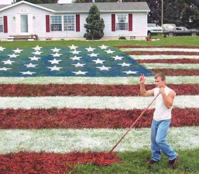 25 - Man waving as he finishes painting his lawn as the American flag.