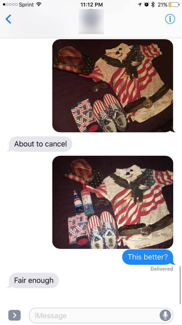 32 - Texting of outfits joked around as reason to cancel 4th of July