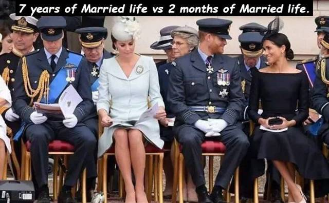 10 - British royalty highlighting the difference between 7 years of married life vs 2 months