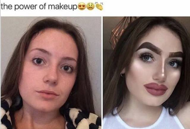 13 - side by side meme showing the power of makeup