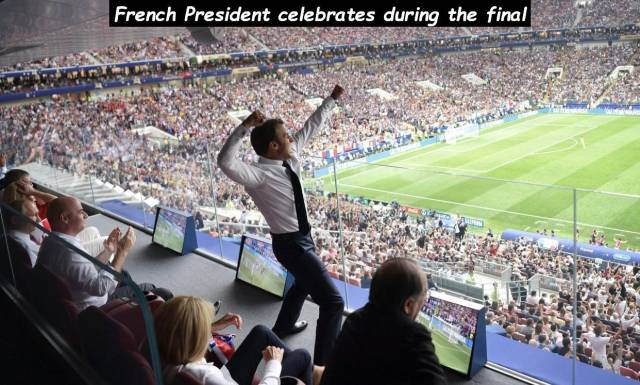 20 - Iconic photo of French President celebrating a goal at the world cup final