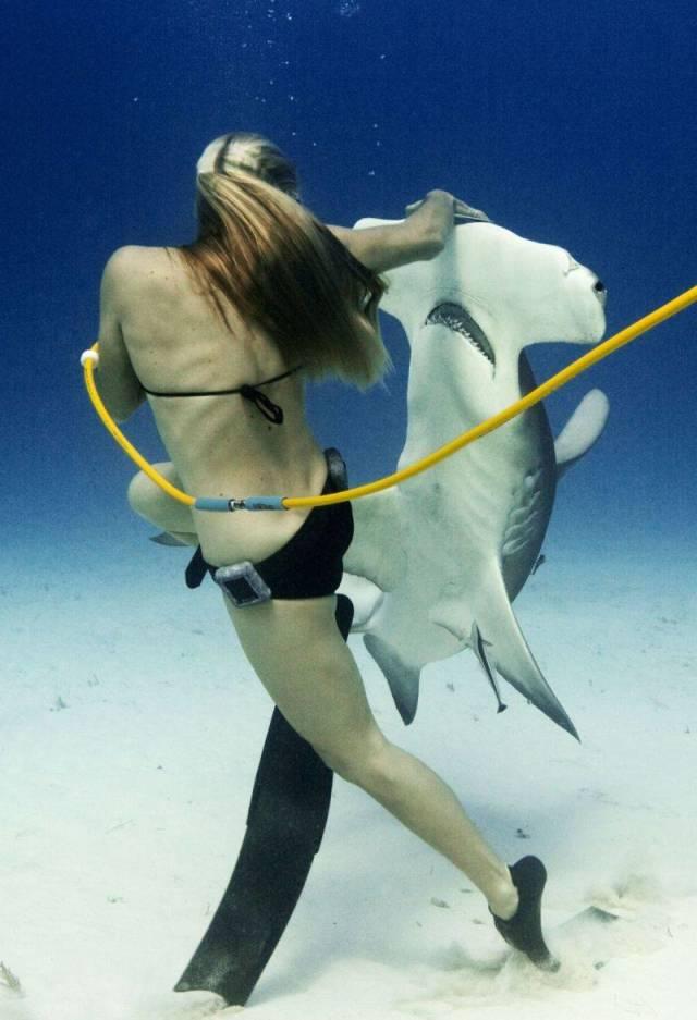25 - woman snoobaing and petting a hammerhead shark