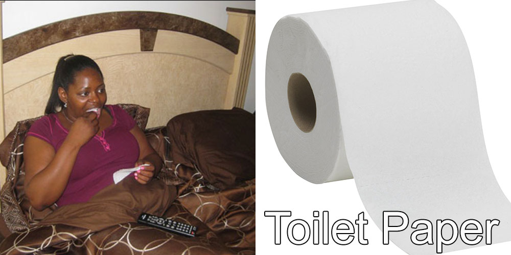 7 - Addicted to Eating Toilet Paper:  Kesha has been snacking on toilet paper for years, going through about 4-5 rolls a week.